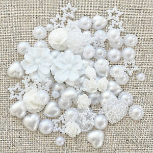 80-Mix-White-Shabby-Chic-Resin-Flatbacks-Craft-Cardmaking-Embellishments