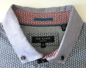 TED-BAKER-London-Men-039-s-Blue-White-Gray-Luxury-Button-Down-Polo-Shirt-Size-5-XL