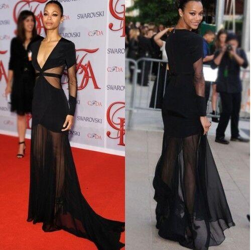 Celebrity Style Black Bandage Fishtail Dress with Sheer Inserts Prom UK,S,M,L