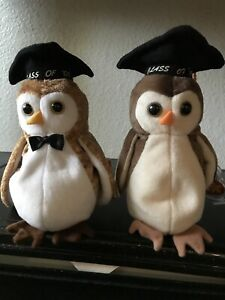 Ty-Beanie-Baby-Wisest-Graduation-Owls-2-Lot-Retired-1997-2000-Plush-Ships-FREE