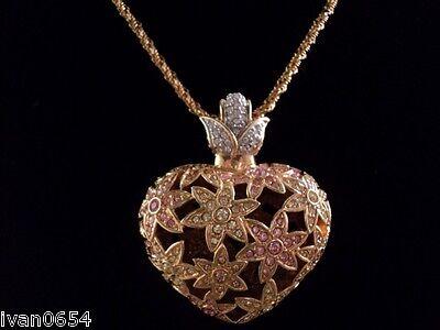 Signed Swan Swarovski Pink & Gold Flower Heart Enhancer Pendant Necklace