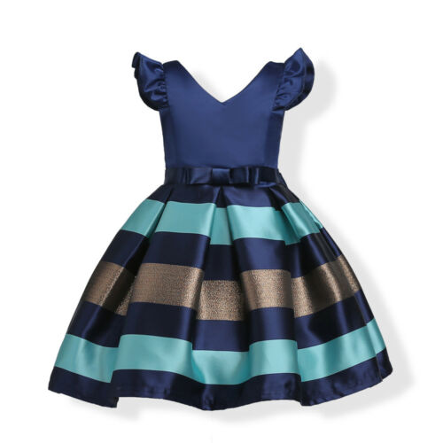 Childrens Kids Girls Striped Formal Fancy Princess Party Pageant Fancy Dress ZG8