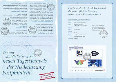 DemüTigen Brd 1997: Documenta! Erinnerungsblatt Block Nr 39! Sonderstempel Frankfurt! 1701