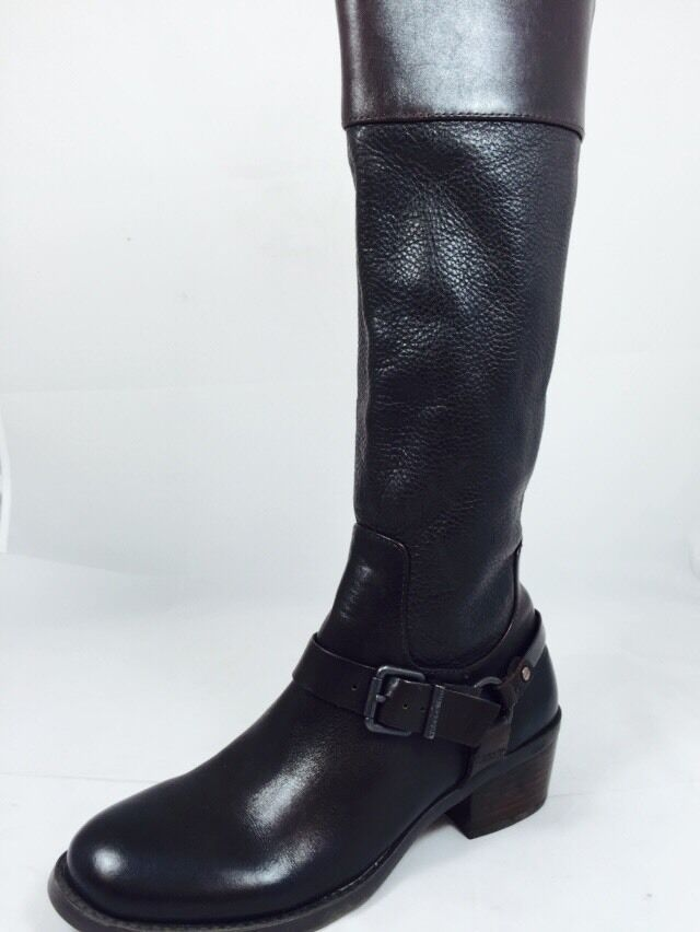 Vince Camuto Brunah Dark Brown Leather Riding Boot Sz 6.5 C2