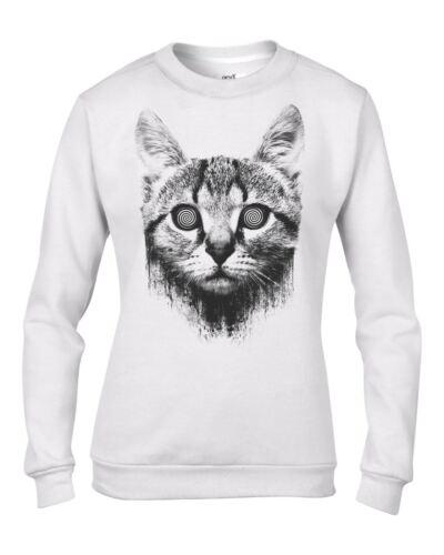 Funny Cat Kitten Hypnotised Cat Women/'s Sweatshirt Jumper