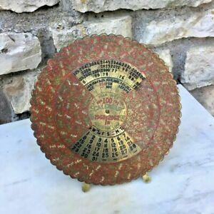 Ancien-calendrier-en-laiton-en-anglais-art-deco-vintage