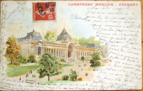 1902 Champagne Mercier Epernay Advertising Postcard Palais des Arts, Litho