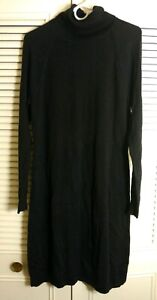NWT-CHAPS-Women-039-s-Sweater-Dress-Turtleneck-Black-Knitted-Cotton-Blend-MSRP-89