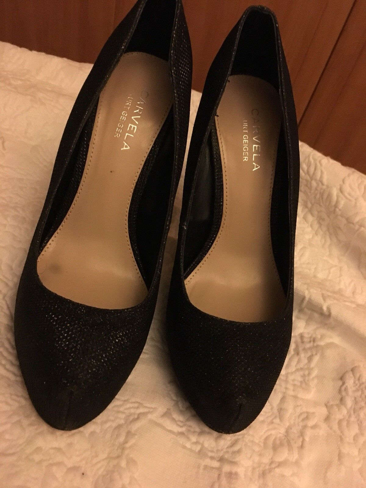 Carvela black platform high heels size 4