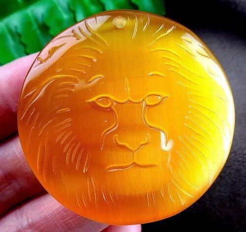 45x9mm yellow cat eye gemstone carved lion head pendant bead Vk9088