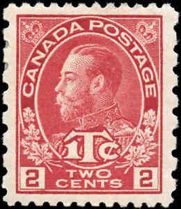 Mint-H-Canada-2c-1c-Perf-12-x-8-1916-VF-Scott-MR5-War-Tax-Stamp