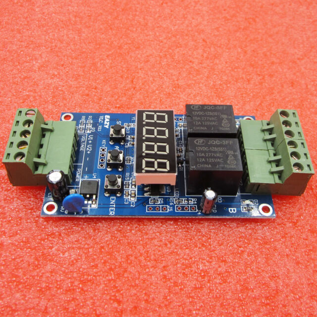 DC 12V Dual Programmable Relay Control Board Cycle Delay Timer Switch Module