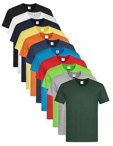 Mens-Mans-Plain-Cotton-Basic-Short-Sleeve-Vee-V-Neck-Tee-T-Shirt-Tshirt-S-XXL
