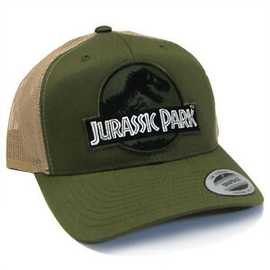 bd3ae9410 Jurassic Park Movie Forest Green Logo Patch Retro Trucker Moss/Khaki ...