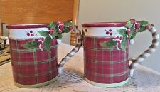 Set Of 2 Villeroy And Boch Joy Noel Plaid Christmas Mugs