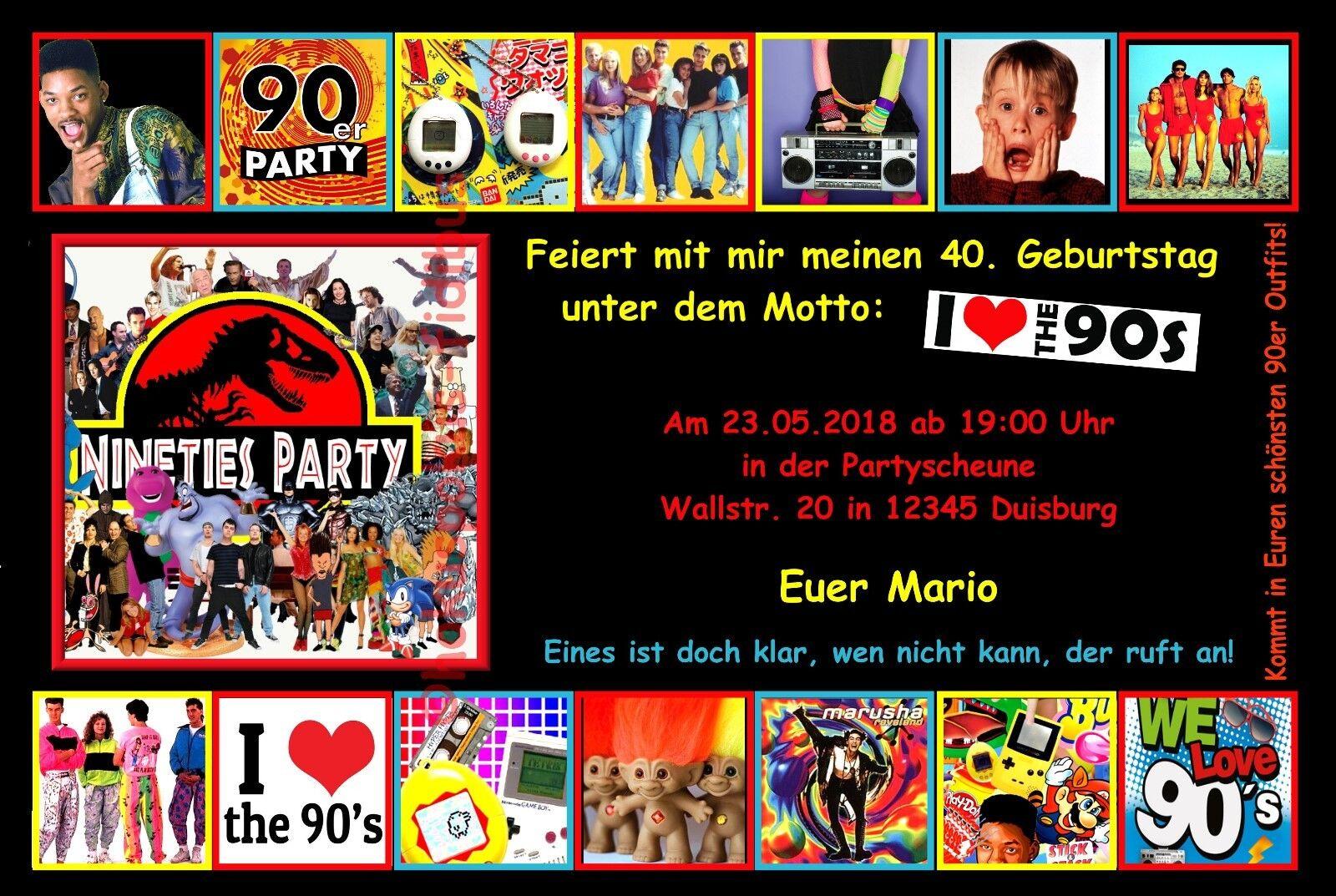 50 Cartes d'invitation 90er 90 S Fête D'Anniversaire Rétro Musique Disco Chaque age