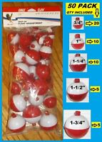 50 Assorted Fishing Bobbers Round Floats Red & White Snap On Float Assortment