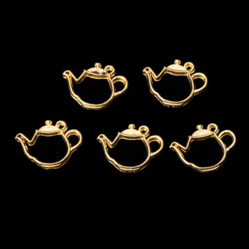 5Pcs Small Teacup Metal Frames Blank Pendant Open Bezel Setting UV Resin Jewelry