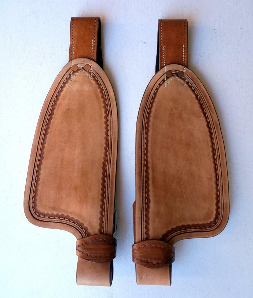 Med Oil Smooth leather fenders for 10  saddle Replacement stirrup Fenders ONLY