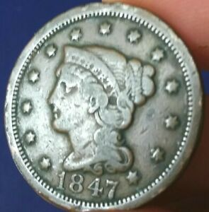 1847 Liberty Head Braided Hair Large Cent