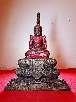 Rare.,RED Buddha Crystal,Base Bronze,PHRA HIN,Wat Phra Kaew,size21 x 26 cm.