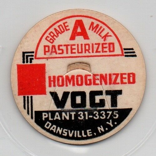 "New York Vogt 1 7//16/"" Milk Bottle Cap Dansville"