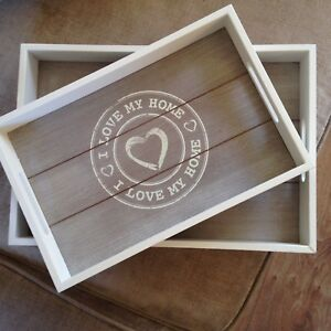 Shabby Chic White And Limed Wood Set Of 2 Serving Trays I Love My