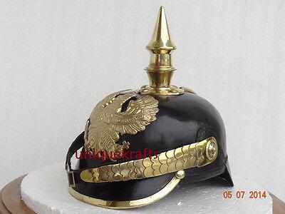 Imperial German WW1 Prussian Spiked Pickelhaube Officer Helmet Leather & Brass