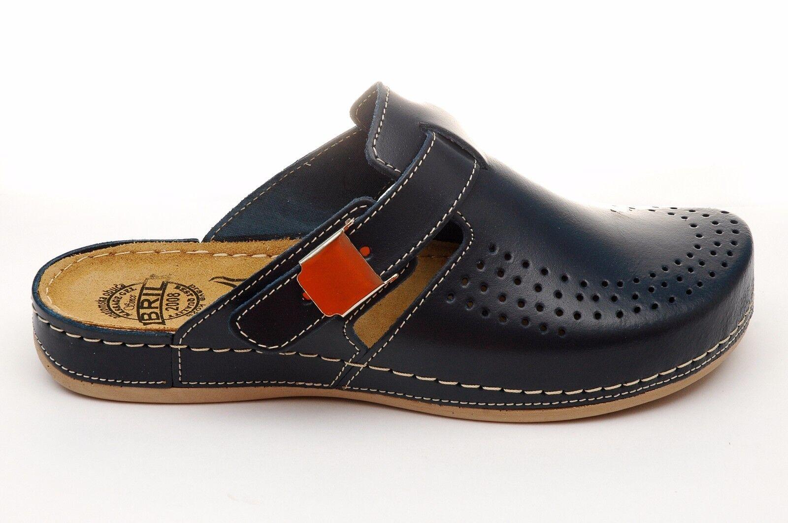 Dr Punto Rosso BRIL Y77 Damens Leder Slip On Clogs Mules Slippers Schuhes, Blau
