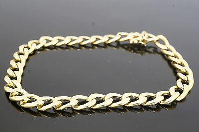 "9carat Yellow Gold 9"" Hollow Curb Link Bracelet 7mm Width"