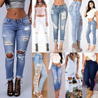 Women Denim Skinny Ripped Pants High Waist Stretch Jeans Slim Pencil Trousers FA