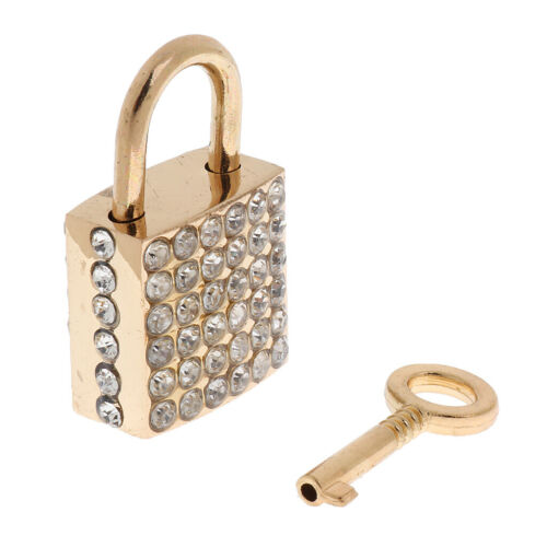 Fashion Square Padlock w// Key Diary Travel Locker Set Pendant Silver Golden