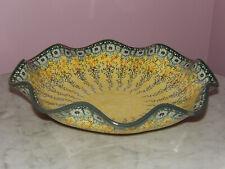 "Polish Pottery Wavy Rim Bowl 14.5/"" UNIKAT Signature Butterfly Summer!"