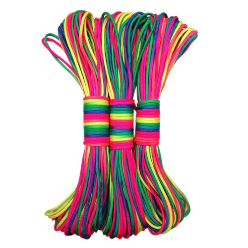 31M 101Ft Rainbow Color Paracord Rope Parachute Cord Outdoors Highquality New