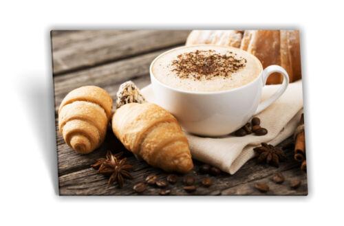 Leinwand-Bild Keilrahmen-Bild Kaffee-Tasse Croissant Kaffe-Bohnen Kaffee-Mühle