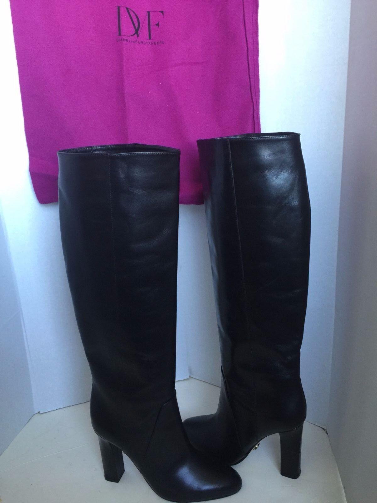 Diane von Furstenberg DVF Gladyss Black Leather Knee High Boot 8.5