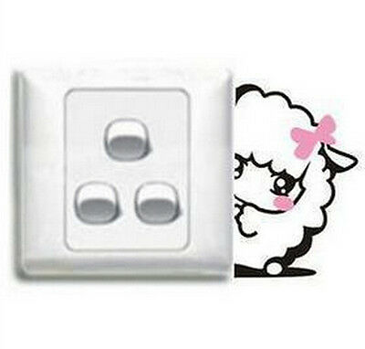 FD1246 Sweet Bowknot Sheep Switch Light Funny Wall Decal Vinyl Stickers DIY ~1pc