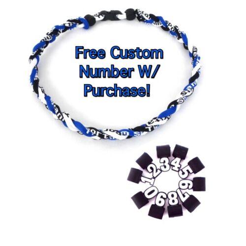 "Titanium Tornado Sports Braided Rope Necklace 18/"" 20/"" 22/"" BLUE BLACK WHITE"