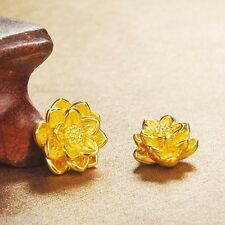 1pcs Authentic 999 24K Yellow Gold Pendant 3D Bless Lotus Lucky Pendant / 15*9mm