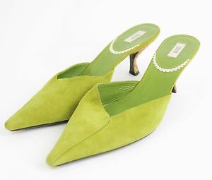 9579a43382b6 PRADA Lime Green Suede Leather Kitten Heels Mules Classic Slide ...
