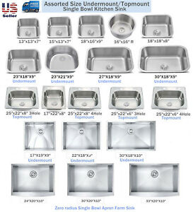 Details About New Topmount Undermount Stainless Steel Single Bowl Kitchen Sink Orted Size