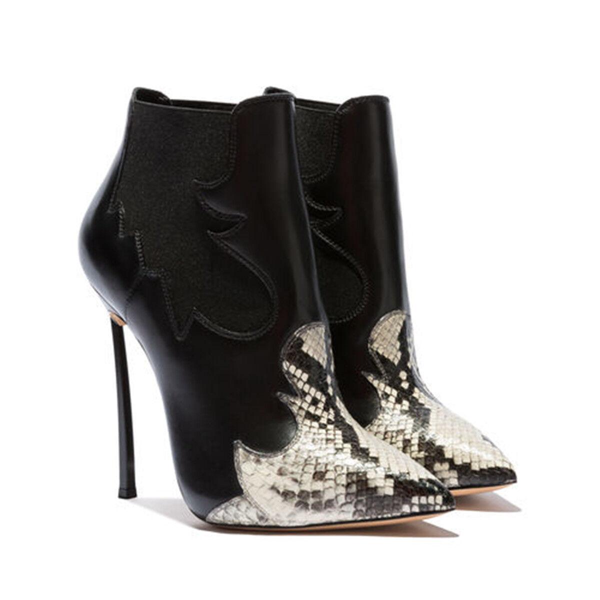 Sehr High Damen Heel Stiefeletten Spitz Stiletto Damen High Schuhe Stiefel Kunstleder Sexy a8bf3e