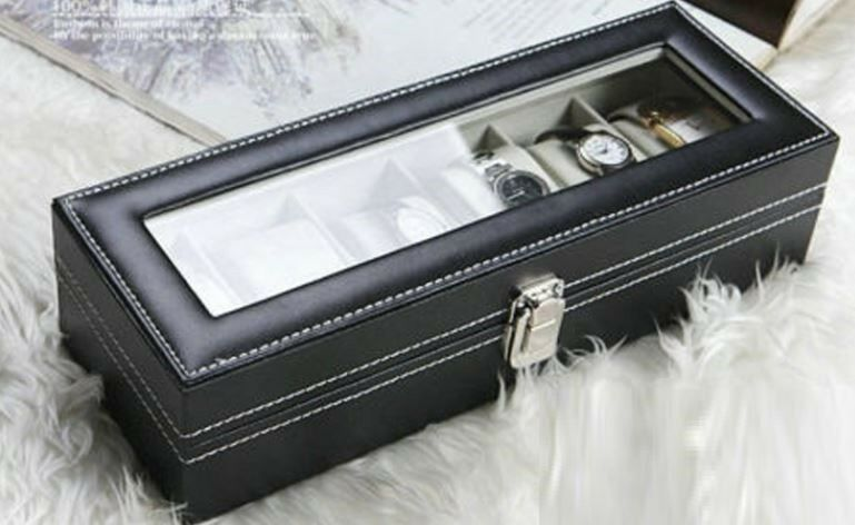 Gifst! 6 Grid Watch Jewellery Display Cases- PU Leather Black