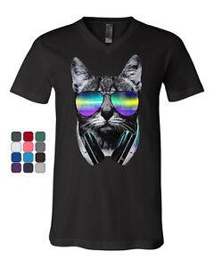 Funny-DJ-Cat-V-Neck-T-Shirt-Music-Kitten-Headphones-and-Glasses-Tee