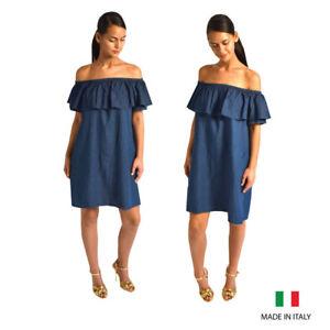 8fe8911cd430 Womens Ladies Dark Blue Denim Look Off The Shoulder Bardot Aline ...