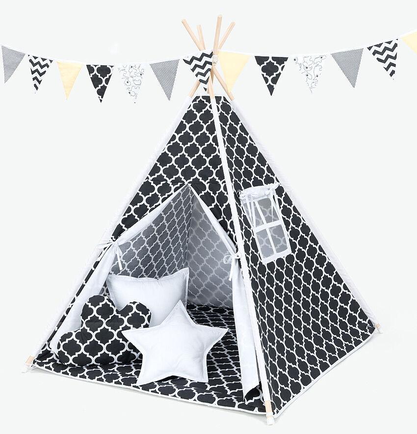 Tipi Teepee Kinderzelt 150cm Wigwam 3 Kissen Bodenmatte Marokko Schwarz   Weiß