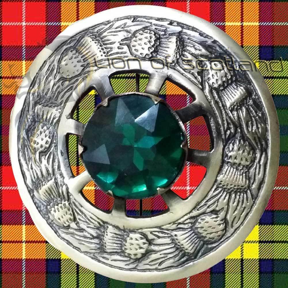 LS Scottish Kilt Fly Plaid Brooch Green Stone Antique 3