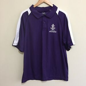 Fremantle-Dockers-Official-AFL-Football-Polo-Shirt-Purple-White-Mens-XL