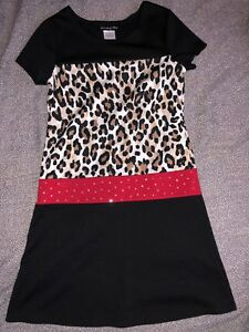 4e5aee259b25 GIRLS SIZE 10 DISORDERLY KIDS BLACK RED   LEOPARD PRINT SHORT SLEEVE ...