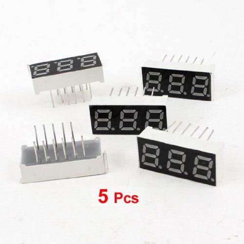 "5Pcs Common Anode 12 Pin 3 Bit 7 Segment 0.28"" Red LED Display Digital Tube BTUK"